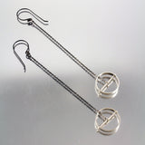 Orbit - Circle Sterling Drop Earrings