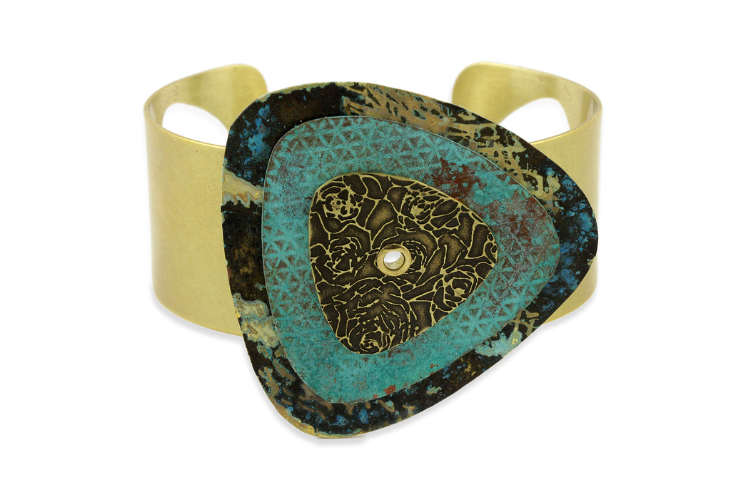 Patina Cuff: Blue Gold, Aqua and Antique Floral