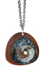 Patina 3-Layerd Pendant: Antiqued Copper, Splash Blue/Yellow and Domed Blue