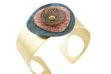 Patina Cuff: Blue, Rose Pink and Antique Floral Dome