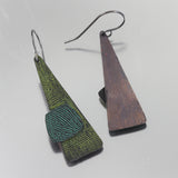 Patina: Abstract Green Triangle Dangles