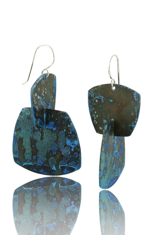 Patina: Blue-Aqua Speckled Bubble Dangles