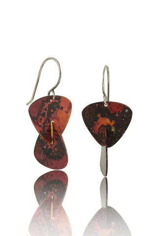 Patina: Burnt Orange Navy Splotched Dangles