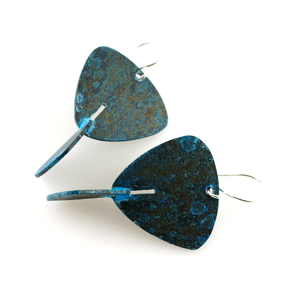 Patina: 3D Sapphire Luster Modern Triangle Dangles