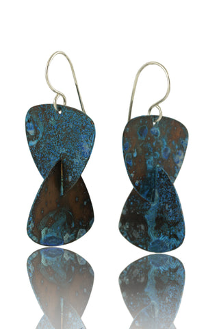 Patina 3-Layerd Pendant: Antiqued Copper, Decoupage Blue and Purple