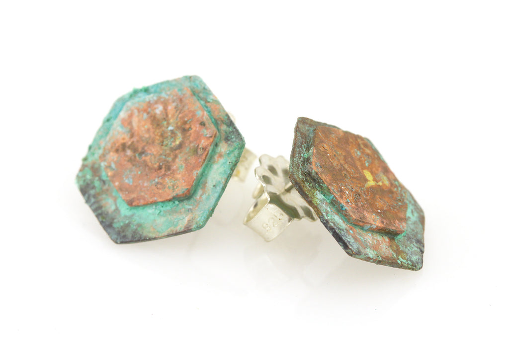 Patina: Hexagon Cyan and Pink Studs