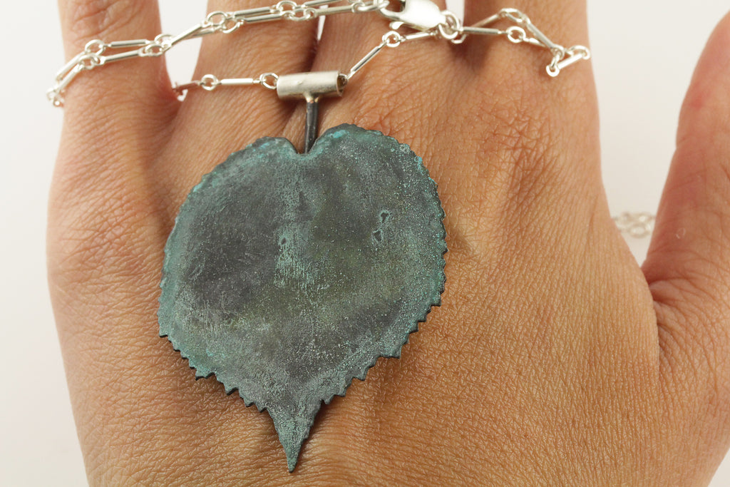 Patina: Deep Green Leaf Pendant