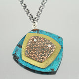 Patina 3-Layerd Pendant: Decoupage Blue, Brass and Antique Copper