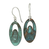 Patina: Sea Green-Jade Textured Oval Dangles