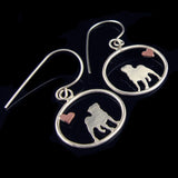 Pug Dangle Earrings with Heart ♥