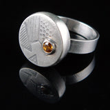 Hollow Textured Circle Ring with Topaz - 6.5