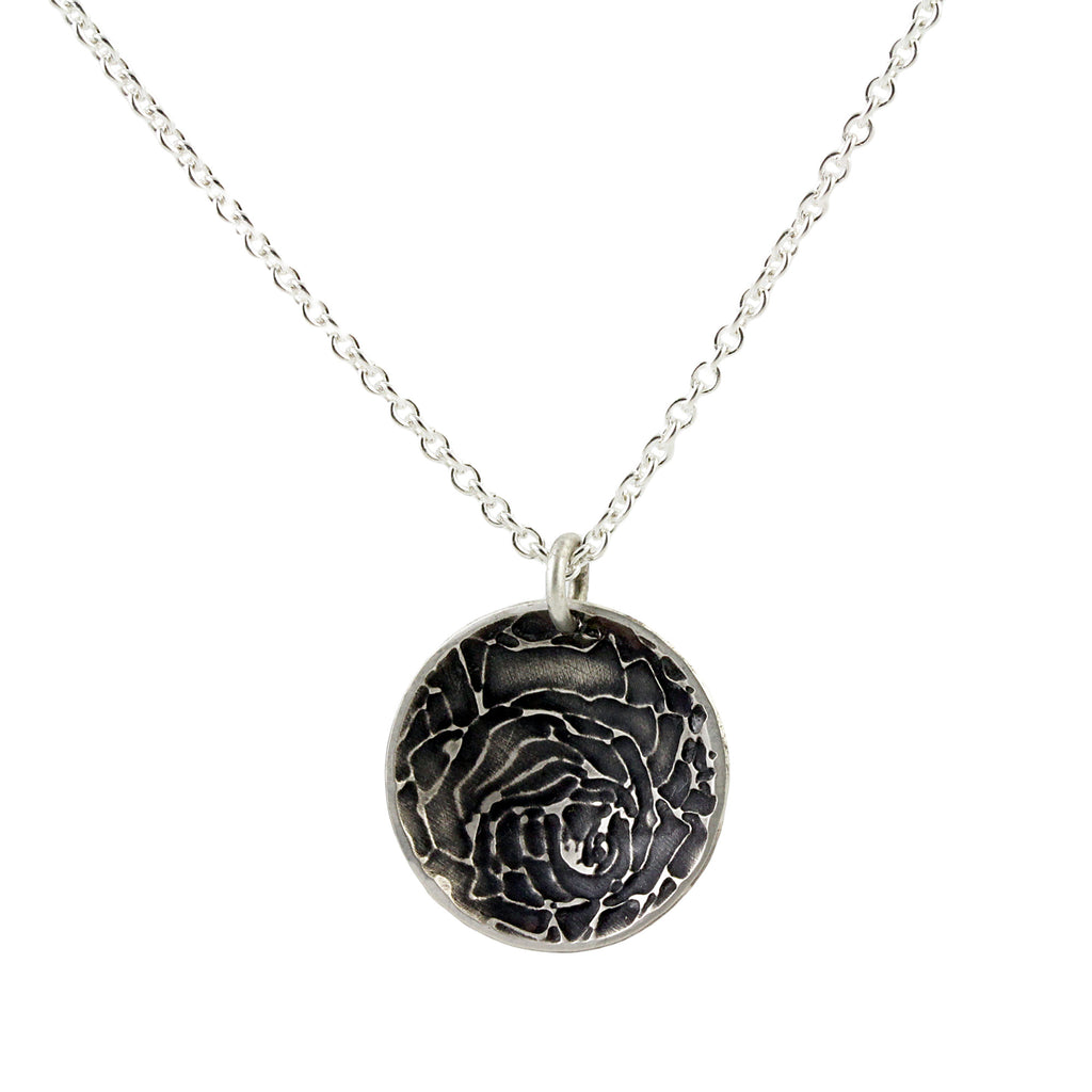 Rose Etched Disc Pendant