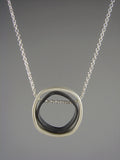 Rounded Square Grayscale - Sterling Necklace
