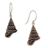 Conical Seashell Copper Dangle Earrings