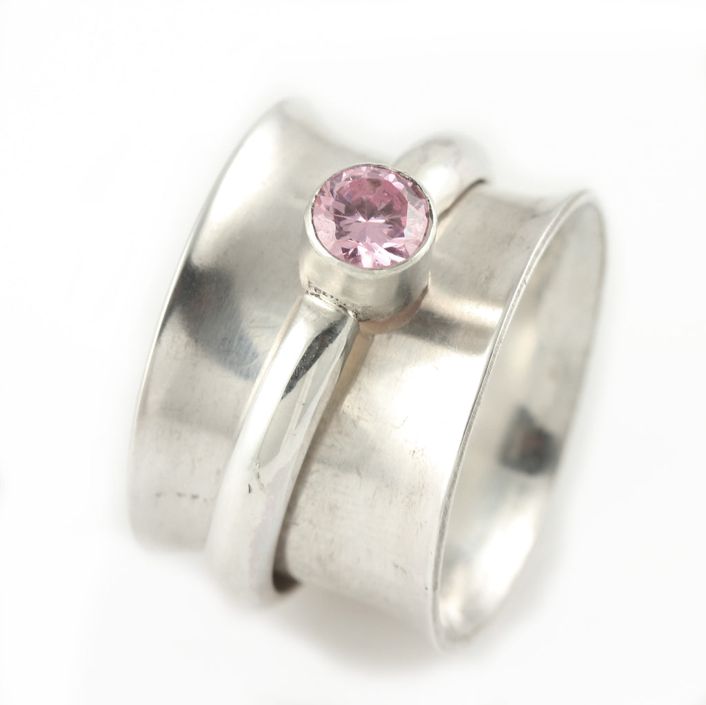 Pink CZ Spinner Ring - Size 7.25
