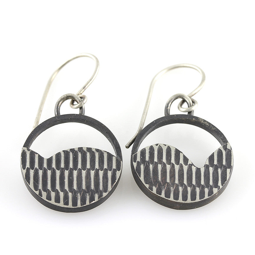 Mod Black and White Circle Modern Dangle Earrings
