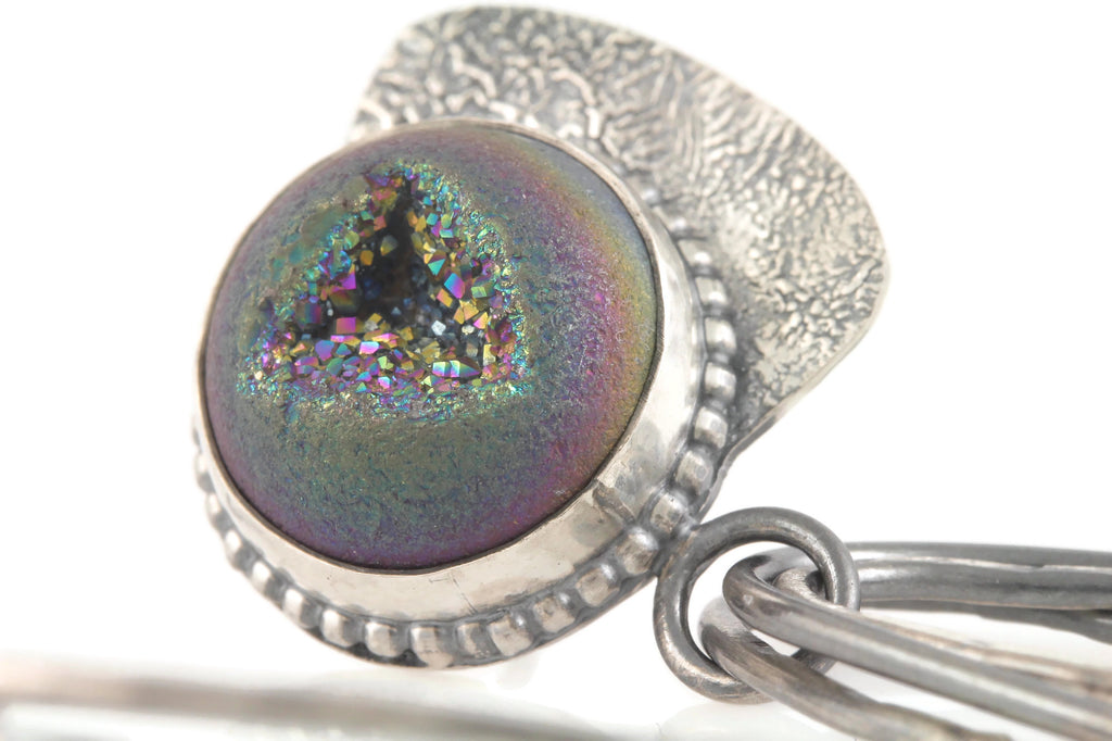 Rainbow Drusy Drop Stud