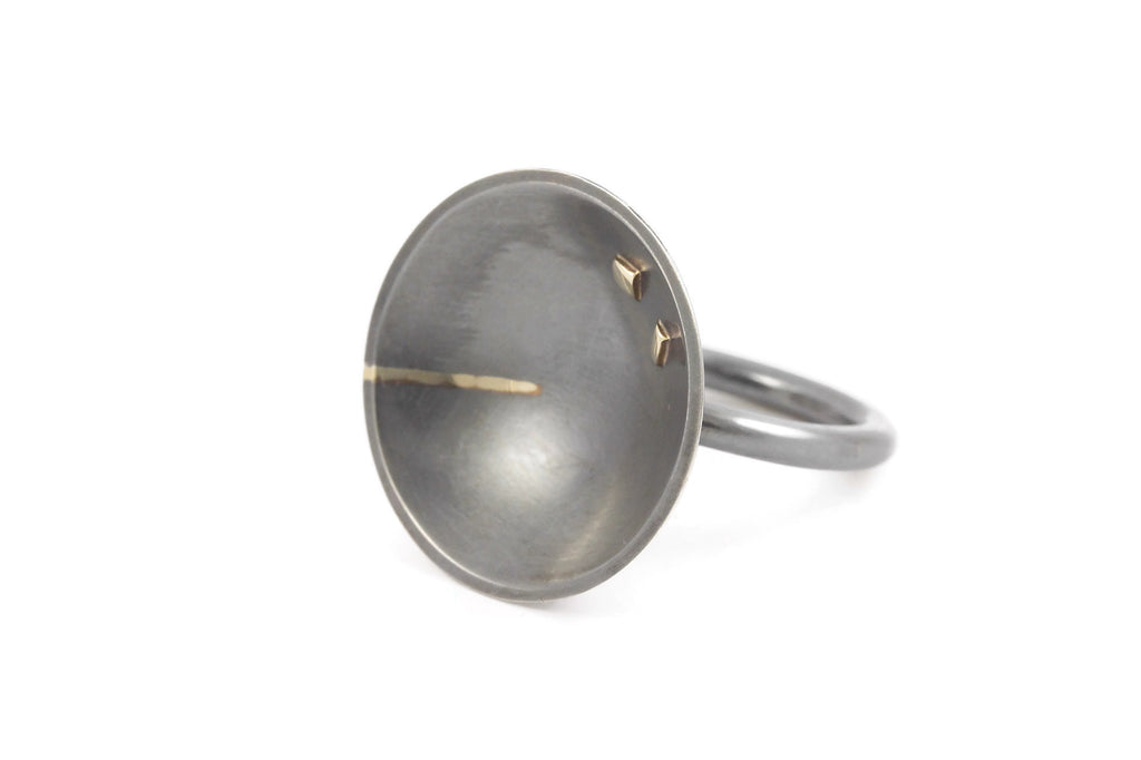 Sterling Silver Dome Ring with 14K Gold Inlay