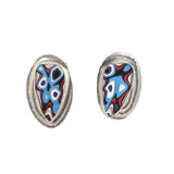 Red, Blue, White and Black Fordite Cab Studs