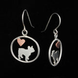 French Bulldog Dangle Earrings with Heart ♥