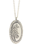 Tree Oval Silver Pendant