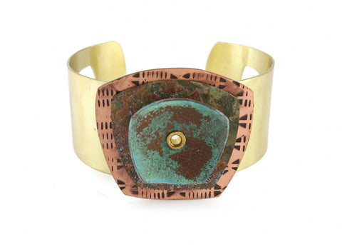 Patina Cuff: Blue Green Etched Floral Pattern