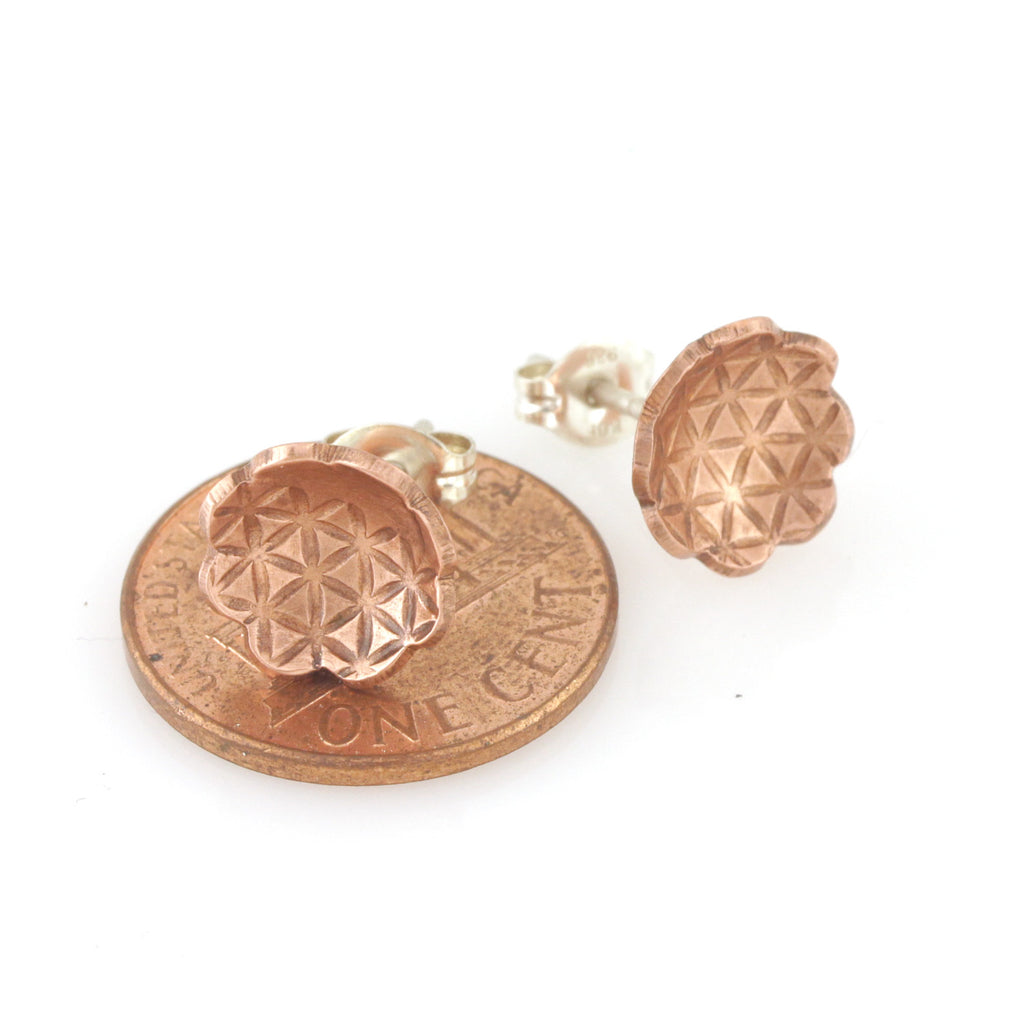 Copper Texture Flower Stud