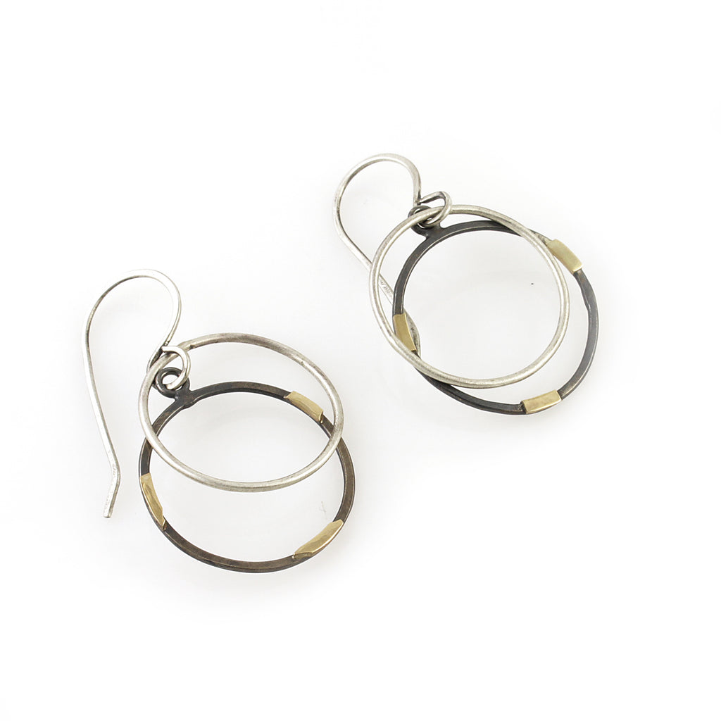 14k Gold and Silver Accent Circle Dangles