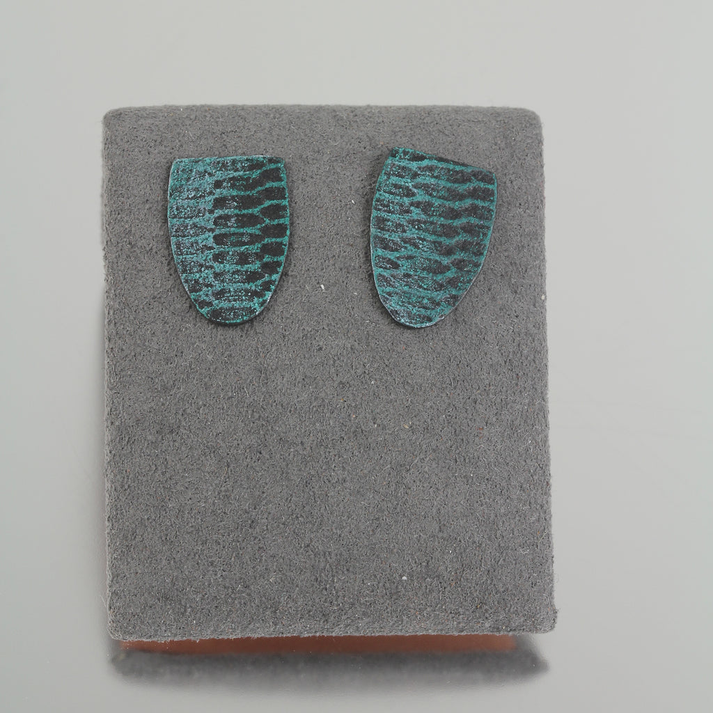Teal Snakeskin Shield Studs