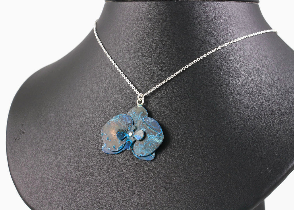 Orchid Pendant: Blue Cosmic Flower