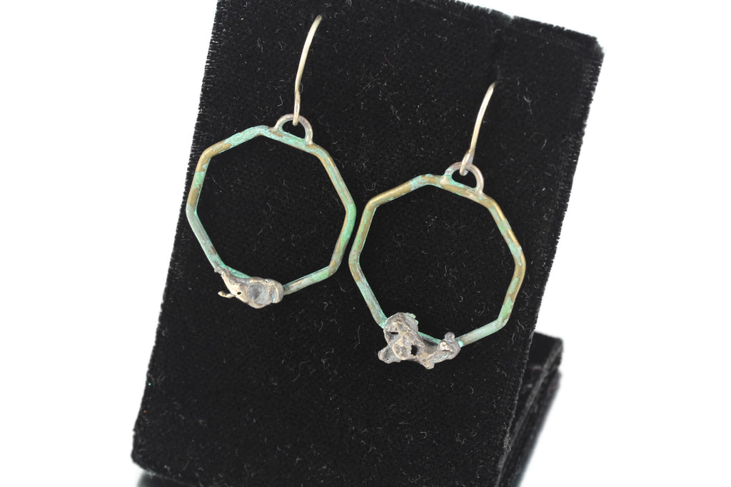 Patina: Brass Aqua Teal Octagon Dangles