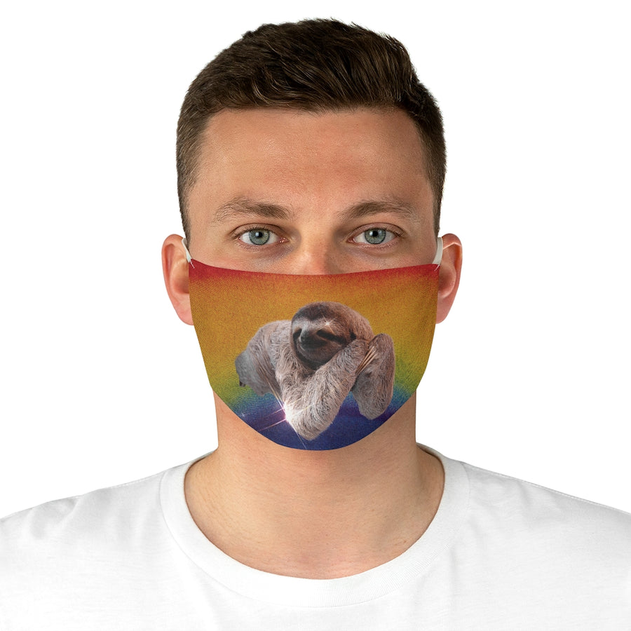 Rainbow Sloth Fabric Face Mask man front