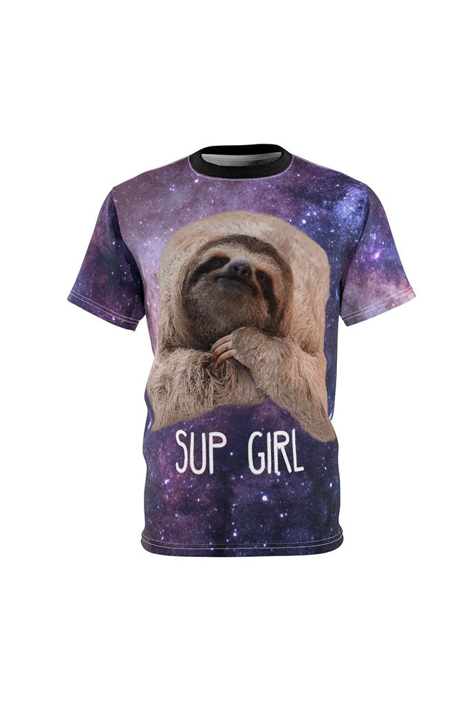 "Space Sloth ""Sup Girl"" Full Print Unisex T-Shirt"