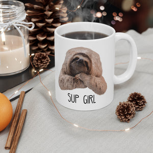 """Sup Girl"" Sloth Mug Christmas holiday background"