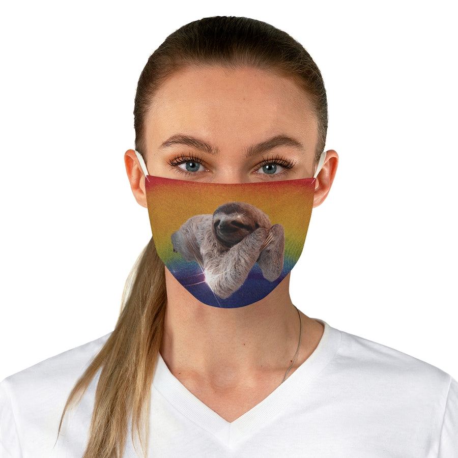 Rainbow Sloth Fabric Face Mask women front