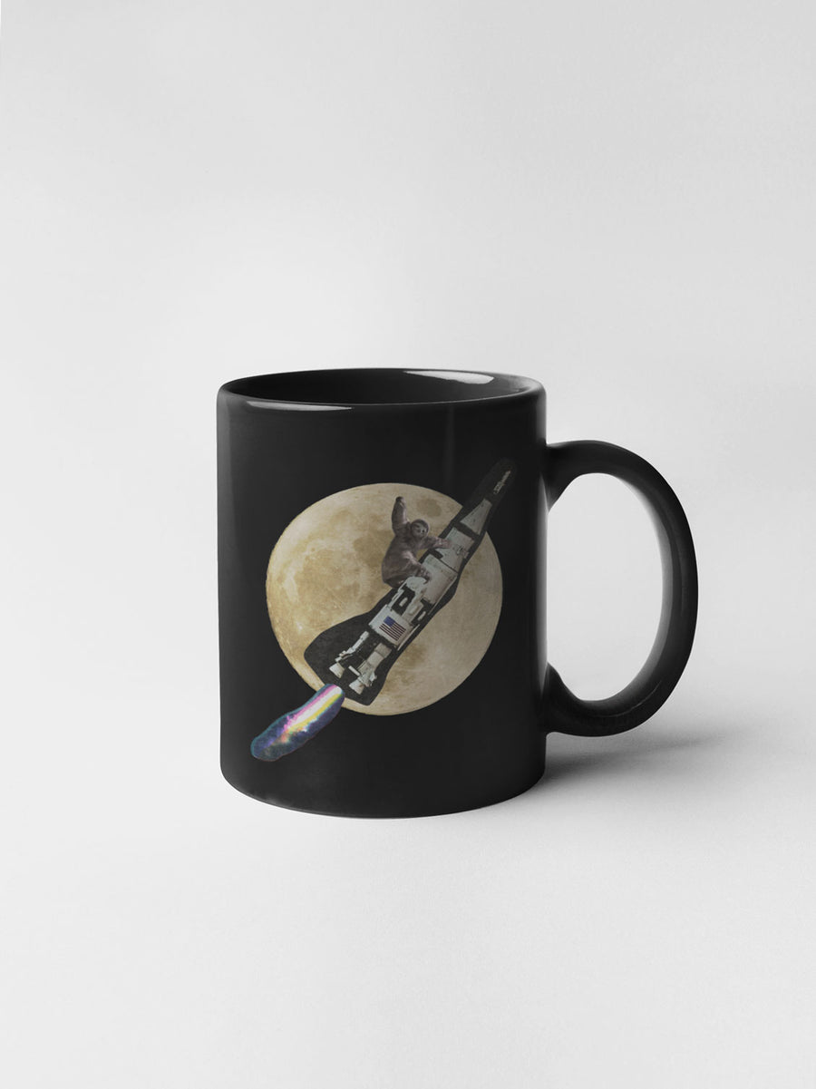 Rocket Sloth Black Mug