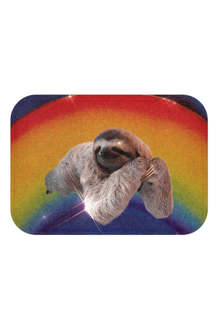 Rainbow Sloth Sparkle Bath Mat Corner Detail