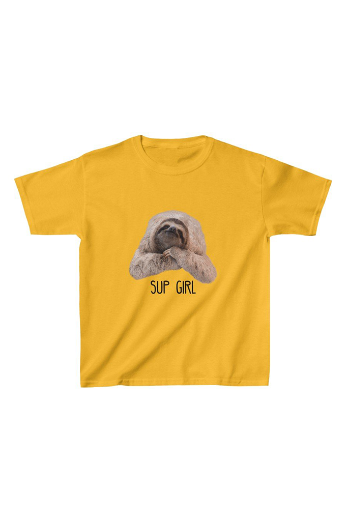 """Sup Girl"" Sloth Kids Tee gold"