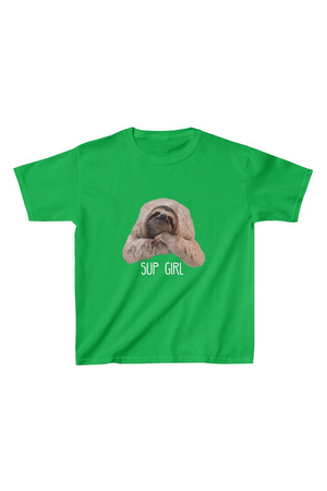 """Sup Girl"" Sloth Kids Tee green"