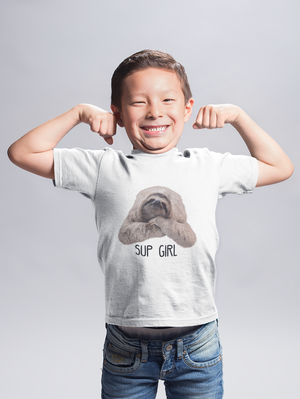 """Sup Girl"" Sloth Kids Tee"