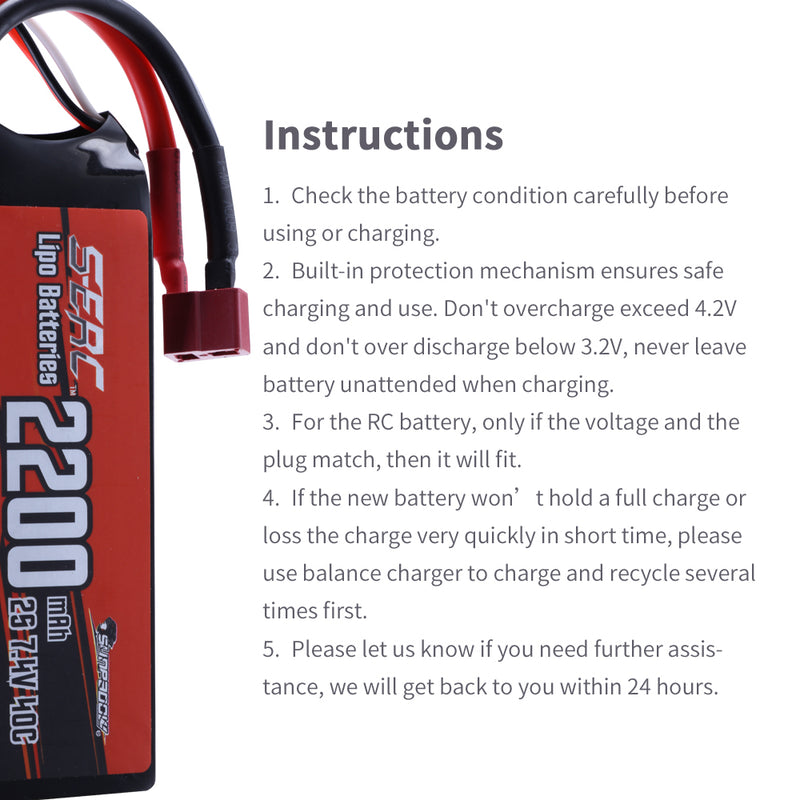 SUNPADOW 2S Lipo Battery 7.4V 2200mAh 40C Soft Pack with Deans T Plug for RC Car Hobby