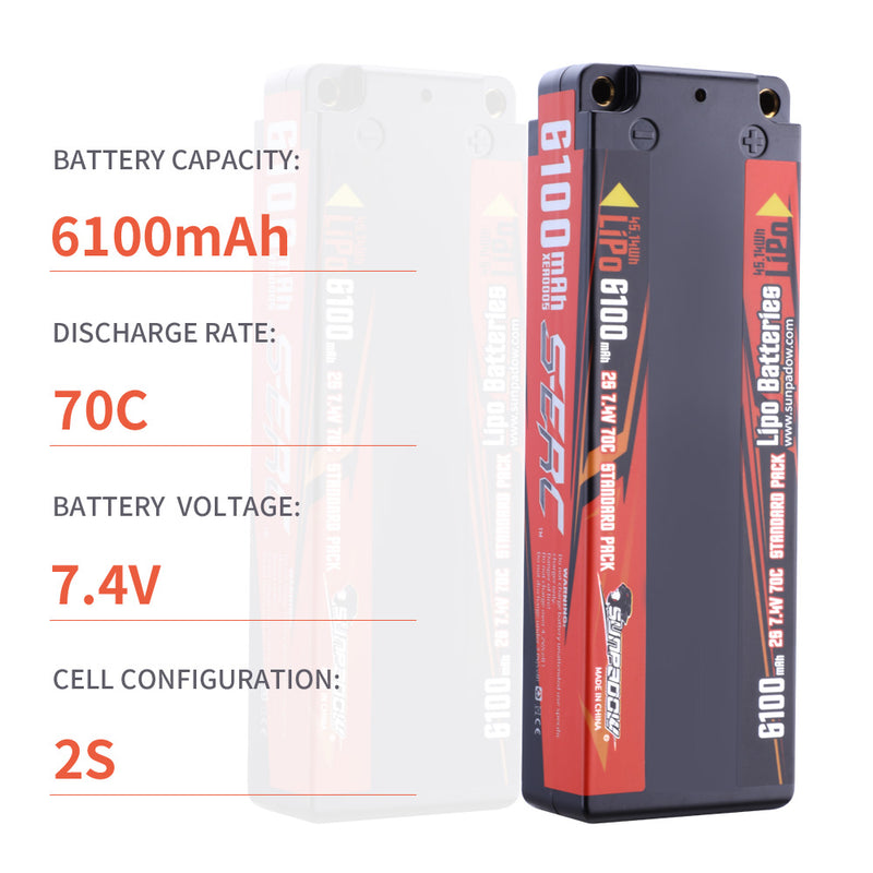 SUNPADOW 7.4V Lipo Battery 2S 6100mAh 70C Hard Case with 4mm Bullet for RC Car Hobby