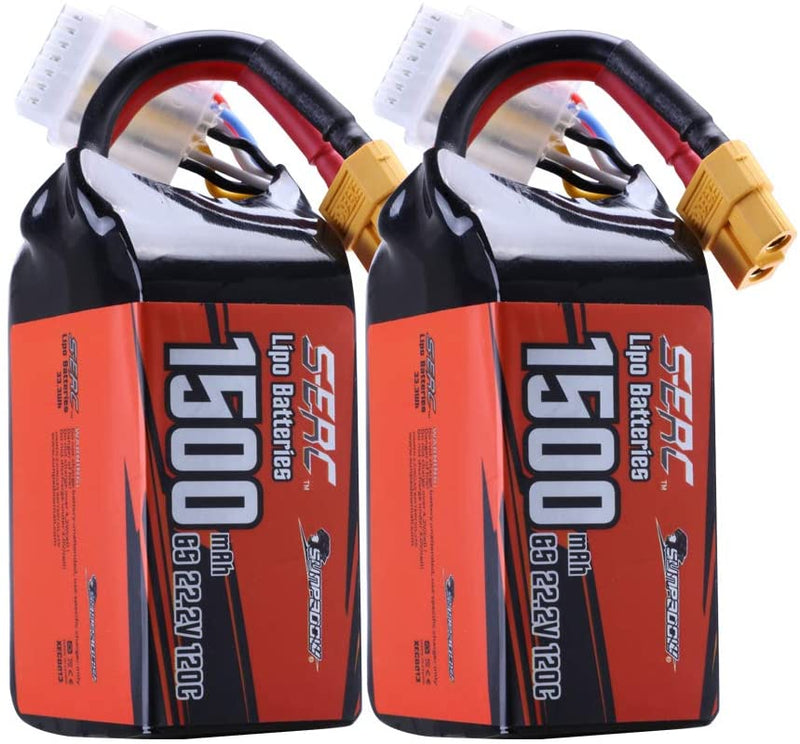 Sunpadow 6S 22.2V Lipo Battery 1500mAh 120C Soft Pack with XT60 for RC FPV Racing 2 Packs