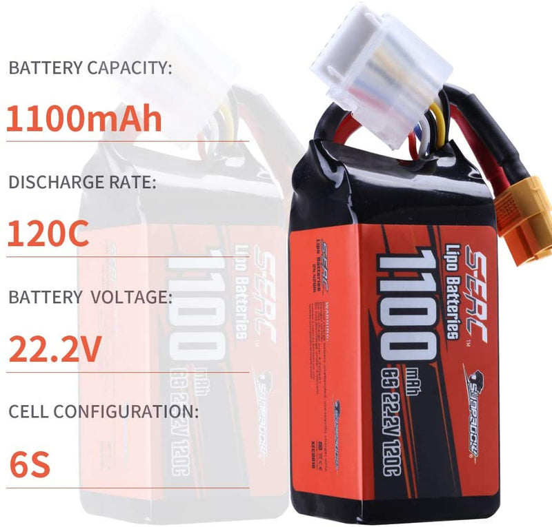 Sunpadow 6S 22.2V Lipo Battery 1100mAh 120C Soft Pack with XT60 for RC FPV Racing 2 Packs