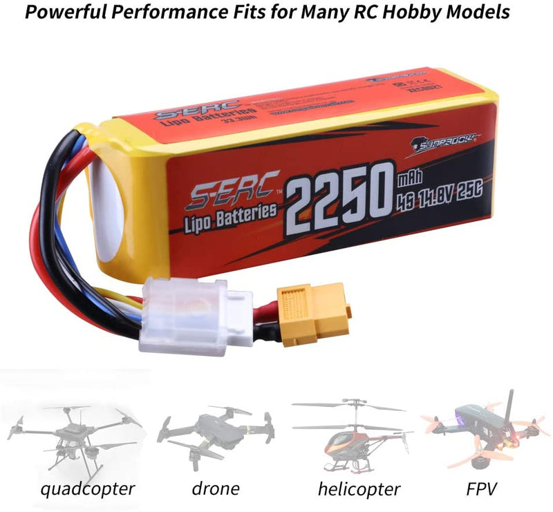 SUNPADOW 14.8V 4S RC Lipo Battery 25C 2250mAh with XT60 Plug for RC Airplane Racing Hobby