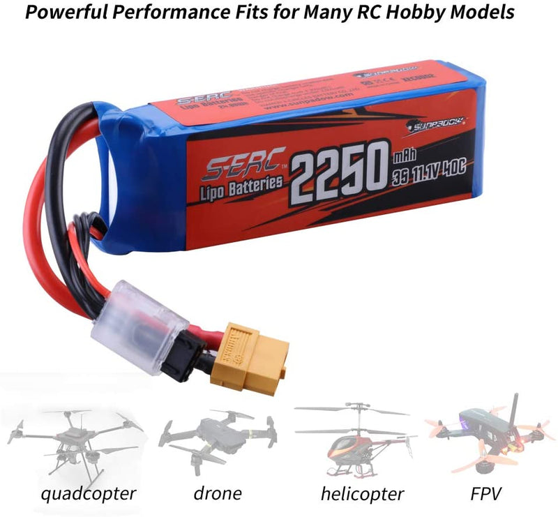 SUNPADOW 3S Lipo Battery 11.1V 40C 2250mAh with XT60 Plug for RC Airplane Drone