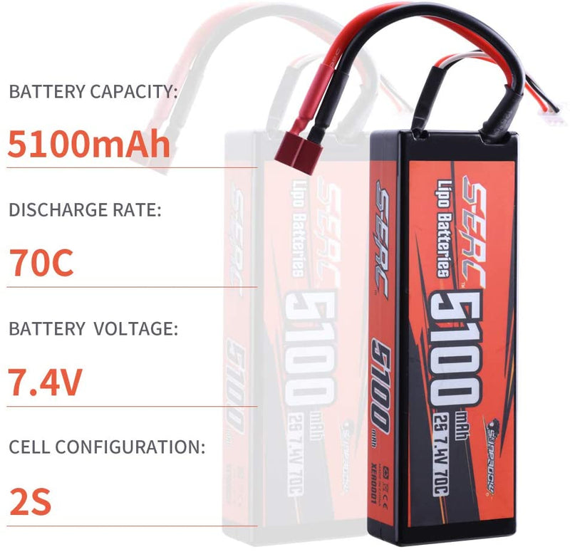 SUNPADOW 2S 7.4V Lipo Battery 5100mAh 70C Hard Case with Deans T Plug for RC Car Hobby