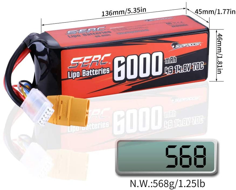SUNPADOW 4S Lipo Battery 14.8V 6000mAh 70C Soft Pack with XT90 Connector