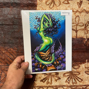 Green Siren Archival PAPER Art Print - Select Size