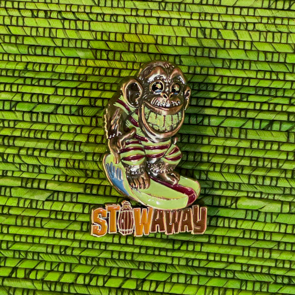 Surfin Monkey Metal Pin